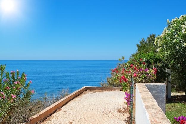Uitzicht op de zee op de muur flora in de zomer.
