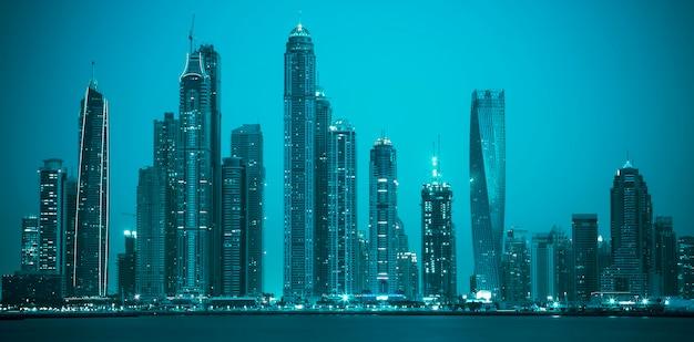 Uitzicht op dubai, speciale fotografische verwerking, verenigde arabische emiraten