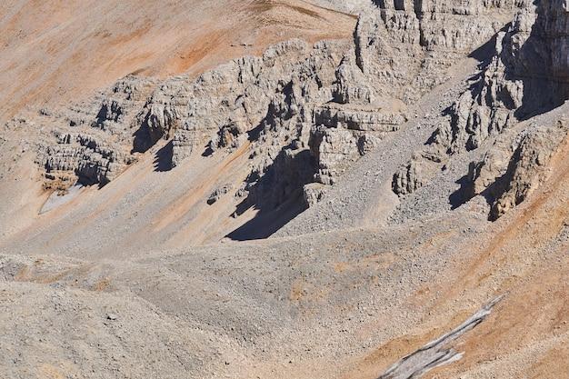 Uitzicht op een stuk rotsachtige hooggebergtewoestijn met verweerde rotsen, talus en gletsjers