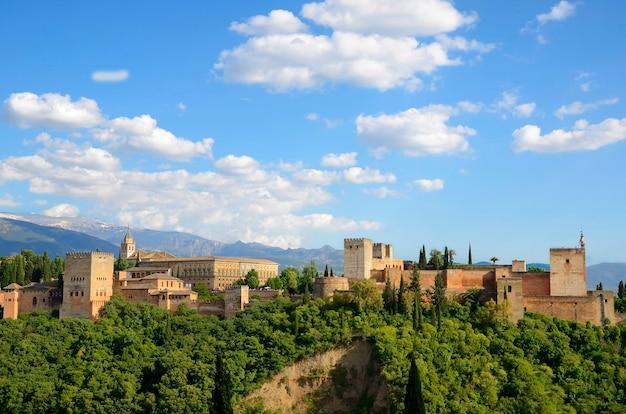 Uitzicht op het alhambra vanuit het gezichtspunt van san nicolas