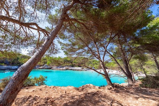 Uitzicht op het beroemde strand cala turqueta. (focus op voorgrond, mensen op het strand in onscherpte). menorca, balearen, spanje