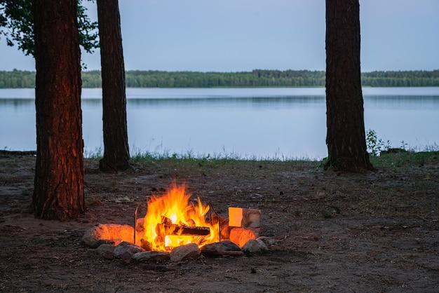 Uitzicht op het branden van kampvuur bij het meer bij schemering omgeven door boomsilhouetten.