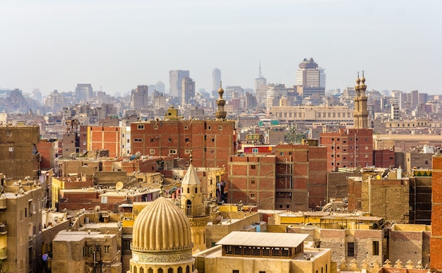 Uitzicht op het centrum van caïro, egypte