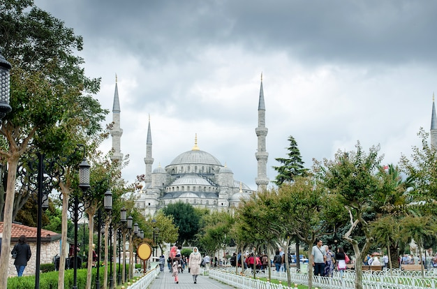 Uitzicht op het gebouw, de blauwe moskee, de sultanahmet-moskee