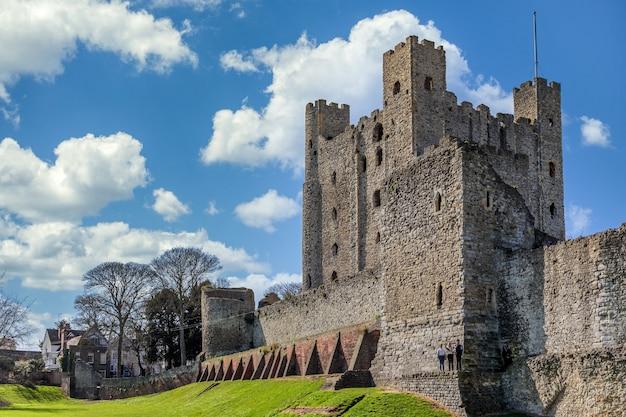 Uitzicht op het kasteel in rochester