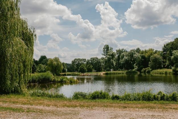 Uitzicht op het meer en het bos