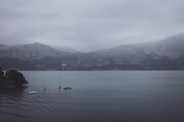Uitzicht op het meer van thun en de bergen vanaf het schip in de stad spiez, zwitserland, europa. zomer landschap. dramatische humeurige blauwe wolkenscène
