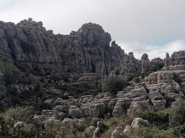 Uitzicht op het natuurpark el torcal de antequera.