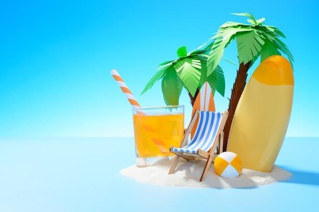 Uitzicht op het zonnige zandeiland met palmbomen, ligstoel, surfplank, sinaasappelsap, bal en zonnebrandcrème ball