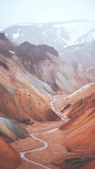 Uitzicht op landmannalaugar in het natuurreservaat fjallabak, de hooglanden van ijsland