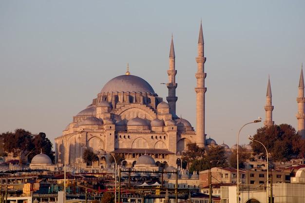 Uitzicht op nieuwe moskee yeni cami in istanbul, turkije