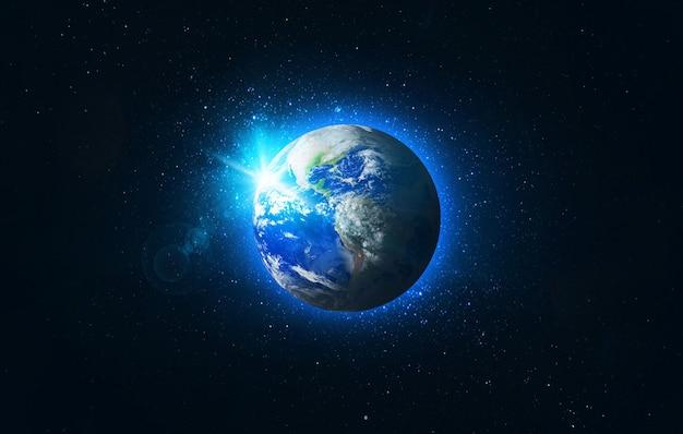 Uitzicht op planeet aarde groene planeet op melkweg globe vanuit de ruimte in een stellair veld