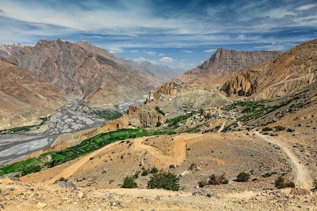Uitzicht op spiti vallei in de himalaya