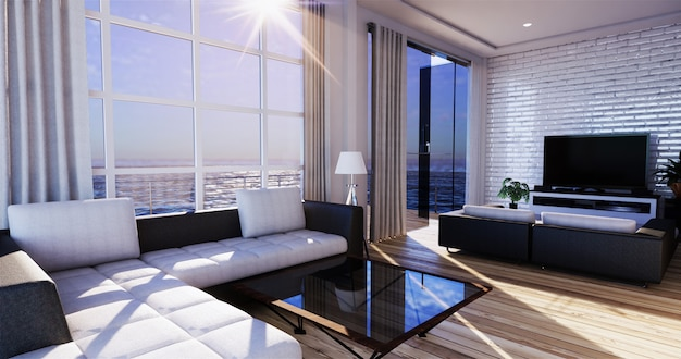 Uitzicht op zee woonkamer in moderne strand zomer thuis. 3d-rendering