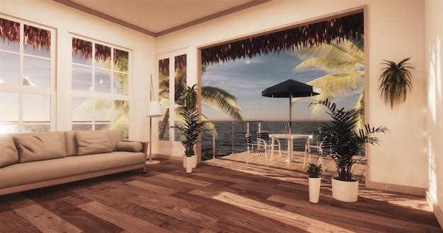 Uitzicht op zee woonkamer in moderne strand zomerhuis