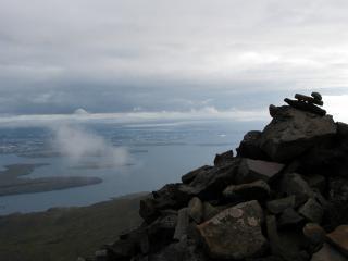 Uitzicht over reykjavik, ijsland, uitzicht