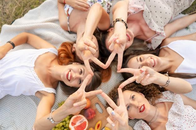 Uitzicht van boven. het gezelschap van mooie vriendinnen heeft plezier en geniet van een picknick buiten