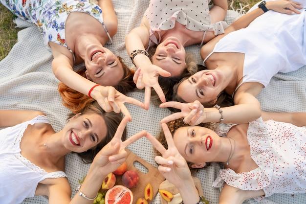 Uitzicht van boven. mooie vriendinnen hebben plezier en genieten buiten van een picknick