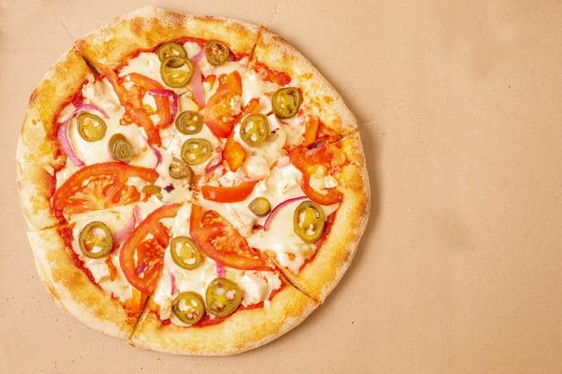 Uitzicht van boven. pizza bezorging. pizza menu.