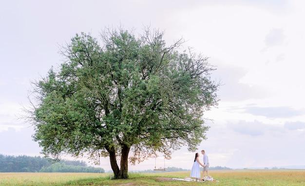Uitzicht vanaf afstand grote boom met schommel waarvan geliefden elkaars hand vasthouden en elkaar aankijken