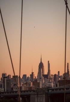 Uitzicht vanaf brug lucht kleur oranje new york