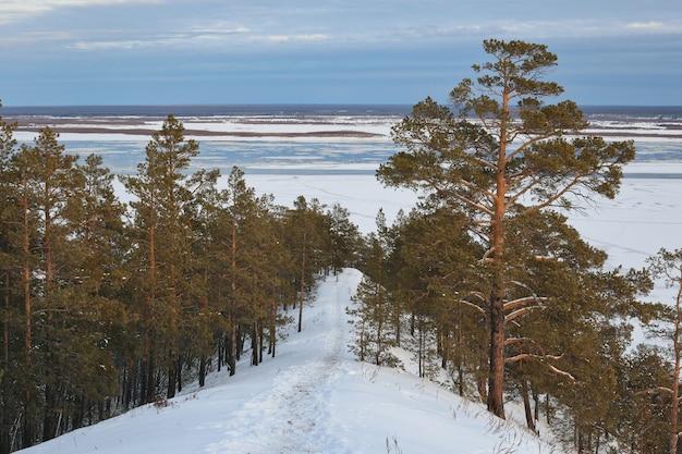 Uitzicht vanaf de berg naar de rivier in de winter