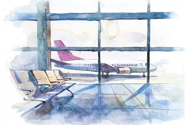 Uitzicht vanaf de terminal naar het startveld met vliegtuig aquarel illustratie