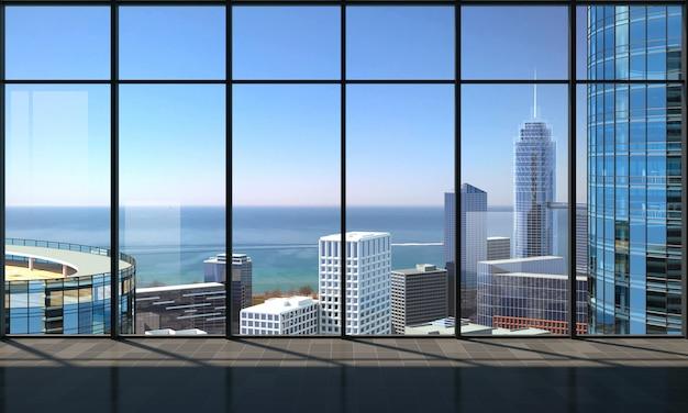 Uitzicht vanaf de wolkenkrabber naar de metropool