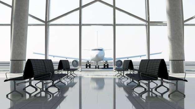 Uitzicht vanaf terminal op het passagiersvliegtuig