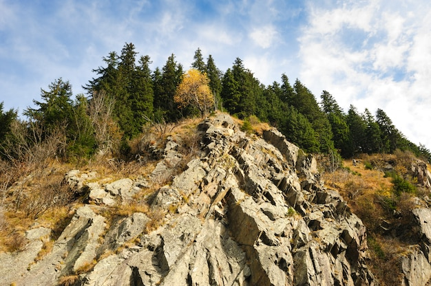 Uitzicht vanaf transfagarasan weg naar rock, roemenië