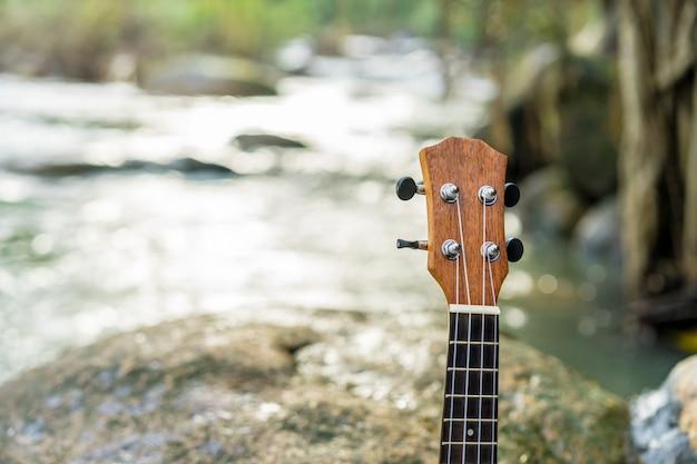 Ukelele op de rots dichtbij waterval in het bos