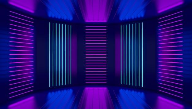 Ultraviolet podiumdecoratie leeg podium roze violet blauw neon kamer abstracte achtergrond nachtclub interieur gloeiende wandpanelen 3d illustratie