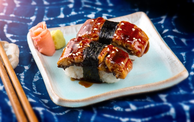 Unagi sushi of japanse paling gegrild,