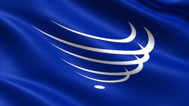 Unasur-vlag, met golvende stoffentextuur