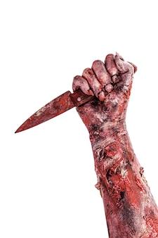 Undead hand aanvallen met mes, moordenaar, bloedig monster, geïsoleerd wit oppervlak.