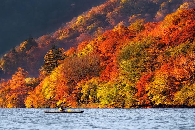 Undefined reiziger kajakken over het meer met herfstseizoen