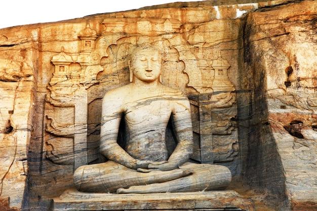 Uniek monoliet boeddhabeeld in polonnaruwa-tempel