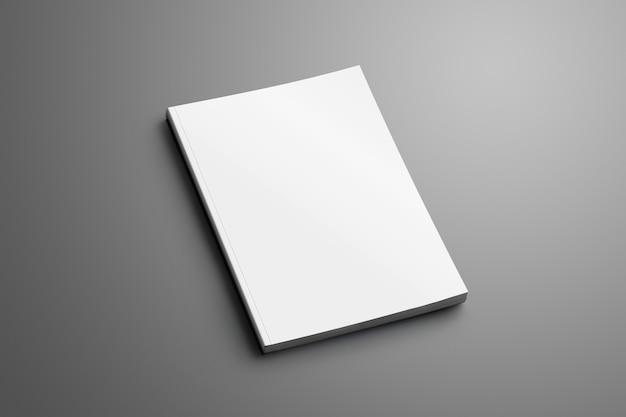 Universele blanco gesloten a4, (a5) brochure met zachte realistische schaduwen geïsoleerd op grijs oppervlak.