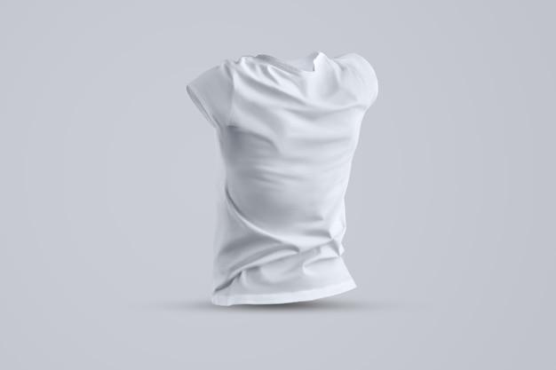 Universele mockup met vorm van het witte vrouwelijke t-shirt zonder lichaam geïsoleerd op de achtergrond van de studio, achteraanzicht. sjabloon kan worden gebruikt voor uw vitrine.