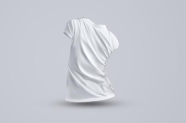 Universele mockup met vorm van het witte vrouwelijke t-shirt zonder lichaam geïsoleerd op de grijze achtergrond, achteraanzicht. sjabloon kan worden gebruikt voor uw ontwerp.