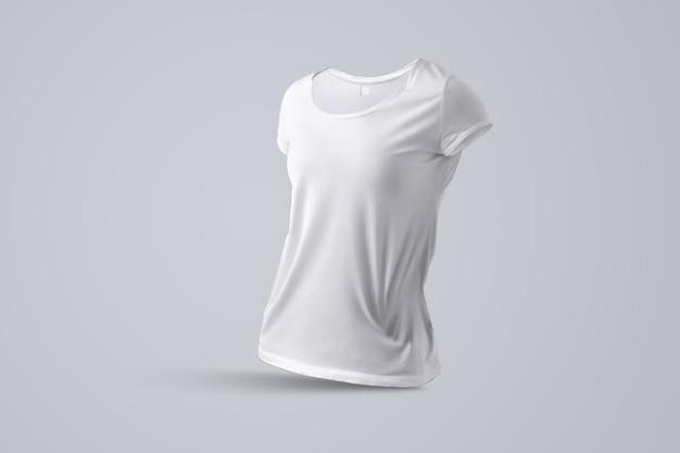 Universele mockup met vorm van het witte vrouwelijke t-shirt zonder lichaam geïsoleerd op de grijze achtergrond, een halve draai van het zicht. sjabloon kan worden gebruikt voor uw vitrine.