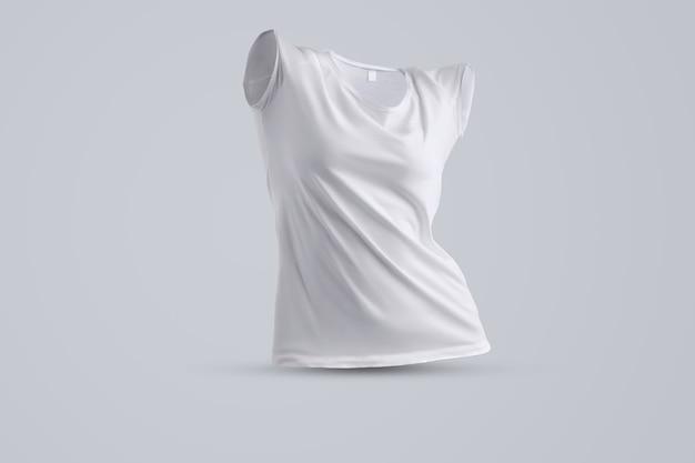 Universele mockup met vorm van het witte vrouwelijke t-shirt zonder lichaam geïsoleerd op de grijze achtergrond, vooraanzicht. sjabloon kan worden gebruikt voor uw ontwerp.