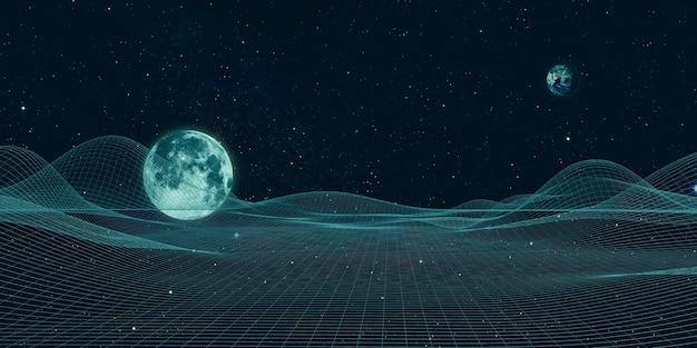 Universum en structurele lijnen toekomstige tabel geometrische universum mesh fantasie hemel cyberspace landschap 3d illustratie
