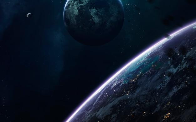 Universum gevuld met sterren, nevels, melkwegstelsels en planeten