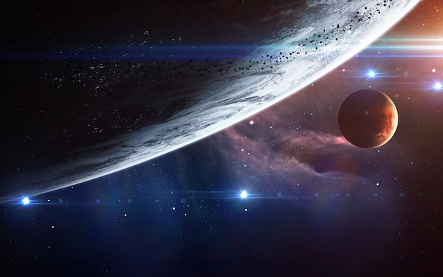 Universumscène met planeten, sterren en melkwegstelsels in de ruimte die de schoonheid van ruimteverkenning tonen.