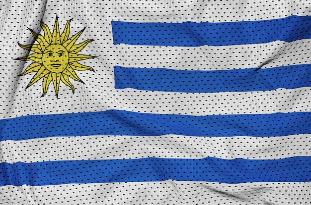 Uruguay vlag gedrukt op een polyester nylon sportkleding mesh stof