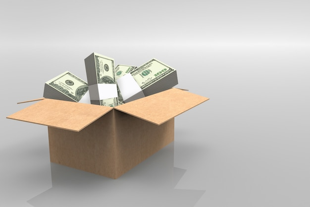 Us 100 dollar bankbiljetstapels in geopende document bruine doos op grijze achtergrond.