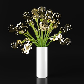 Us dolar tree groen, 3d-rendering.
