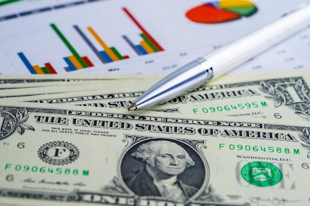 Us dollar en euro bankbiljettengeld op van de achtergrond grafiekgrafiek document.