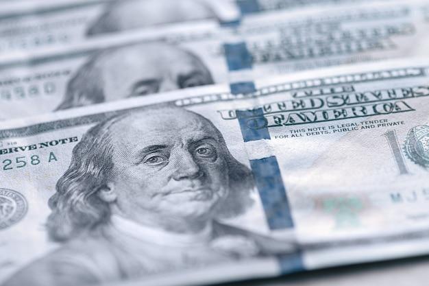 Us fiat geld, dollarbiljetten met franklin close-up